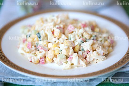крабовый салат с кукурузой и майонезом рецепт