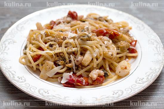 Креветки с макаронами в сливочном рецепт с пошагово