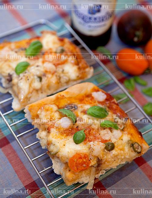 рецепт пиццы с анчоусами и креветками