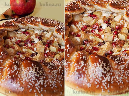 Дрожжевой пирог с творогом, яблоками и курагой