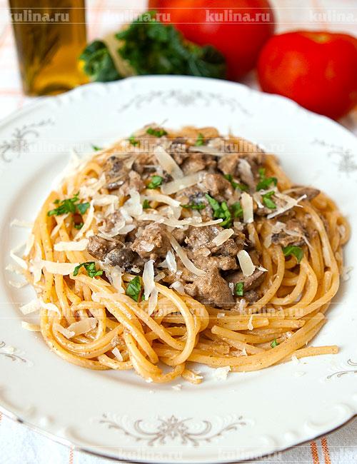 Спагетти с печенью куриной