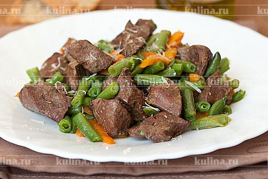 салат с печень с фасолью рецепты