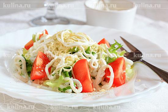 рецепты салатов кальмар с рисом фото