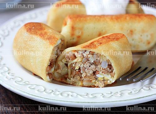 Блинчики фаршированные мясом рецепт с фото