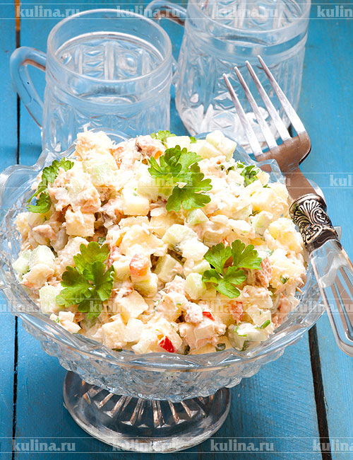 салат с копченой горбушей рецепт и фото