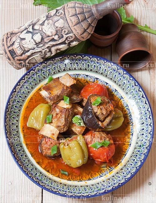 овощи с мясом в тыкве рецепт