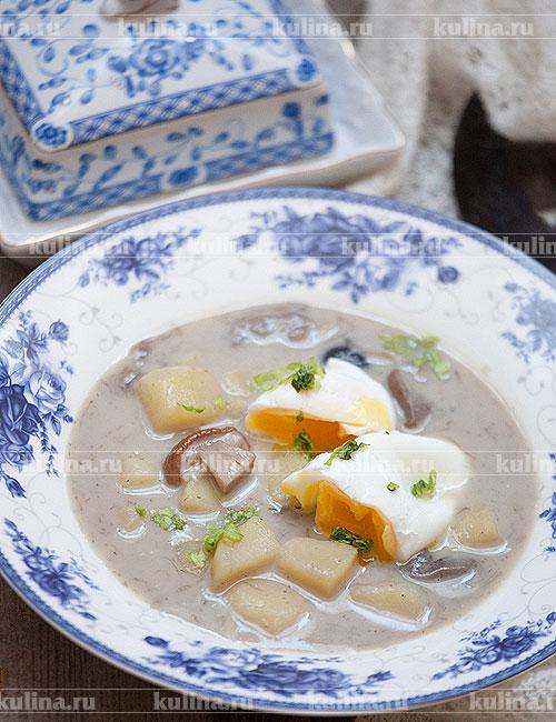 грибной суп рецепт из замороженных грибов с яйцом