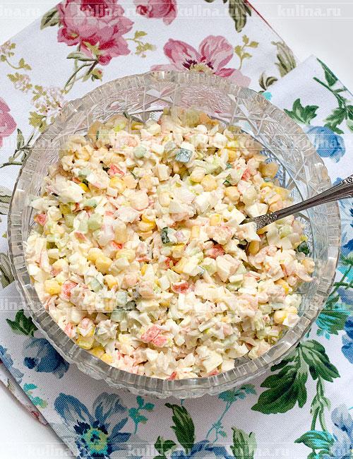 Салат кальмары креветки кукуруза