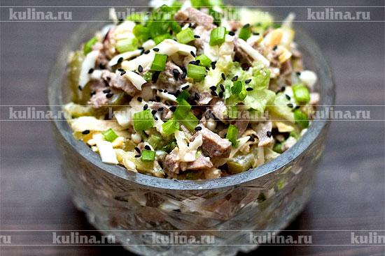 салат из языка и огурца рецепт