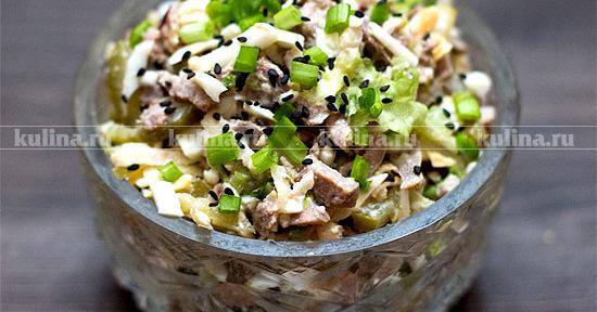 Салат из языка и соленых огурцов рецепт с