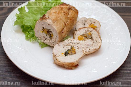 вкусная куриная грудка в рулете с перцем рецепт