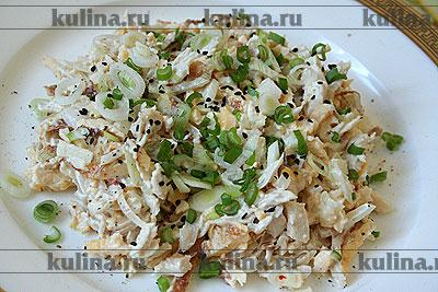 Салат из омлета и курицы рецепт с очень вкусный с