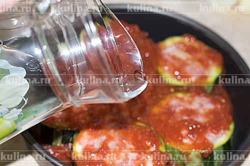 Фаршированные кабачки с мясом и рисом