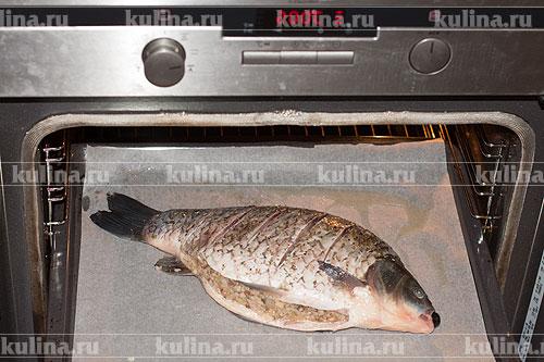 Поставить противень с рыбой в разогретую до 200 градусов духовку, запекать около 30 минут.
