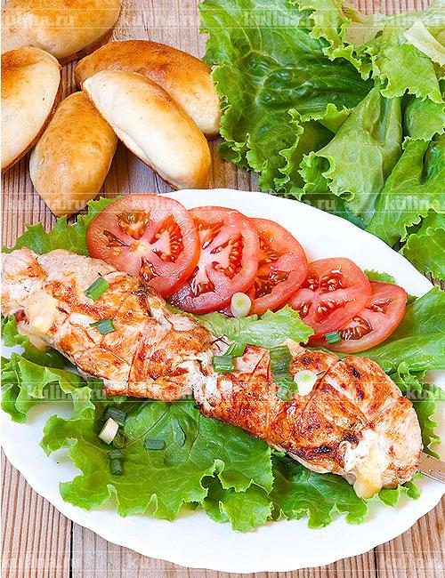 рецепт салата из курицы с яблоками и сыром