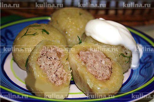 Клецки из картофеля с мясом рецепт пошагово 95