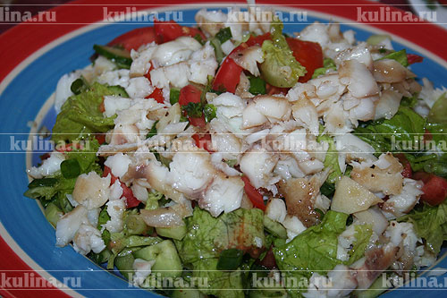 Салат с рыбой и сухариками рецепт очень вкусный