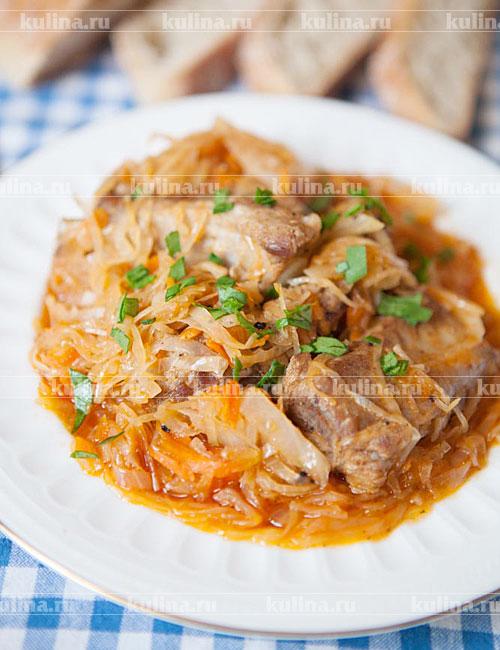 Мясо с капустой картошкой в мультиварке 69